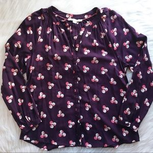 Boden 8 blouse top flowy purple